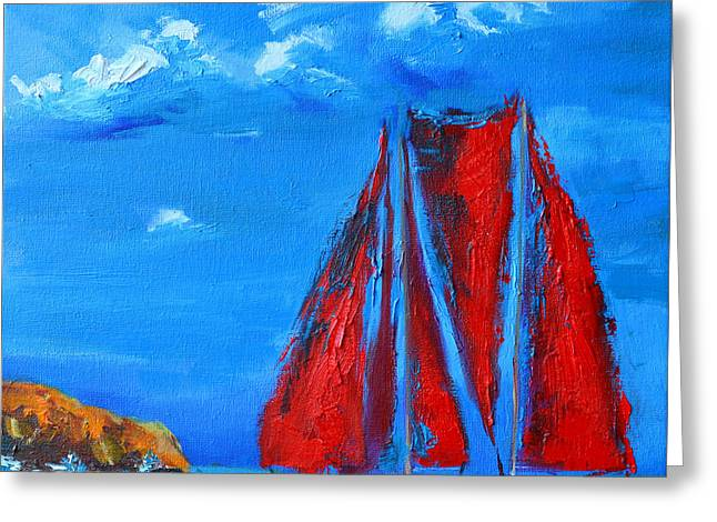 Water Vessels Greeting Cards - Red Sails Greeting Card by Patricia Awapara