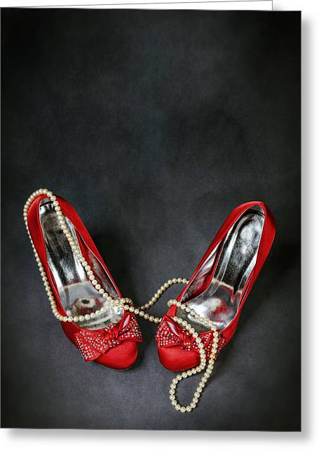 Jewellery Greeting Cards - Red Shoes Greeting Card by Joana Kruse