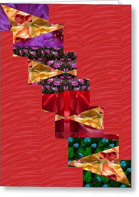 Reprint Greeting Cards - Red Silken Base CROSS through Art Decoration Greeting Card by Navin Joshi