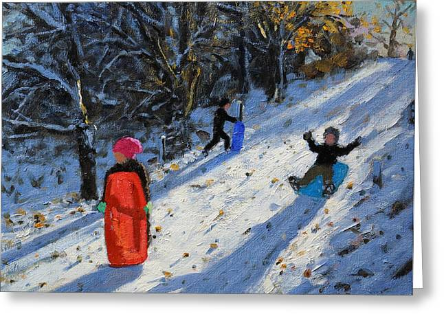 Winter Fun Paintings Greeting Cards - Red sledge Greeting Card by Andrew Macara