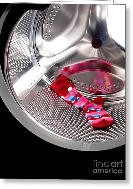 Red Socks Greeting Cards - Red sock Greeting Card by Sinisa Botas