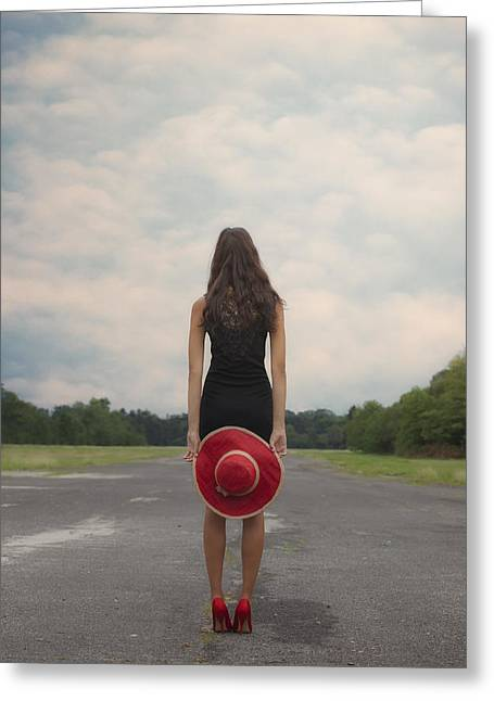 Sun Hat Greeting Cards - Red Sun Hat Greeting Card by Joana Kruse