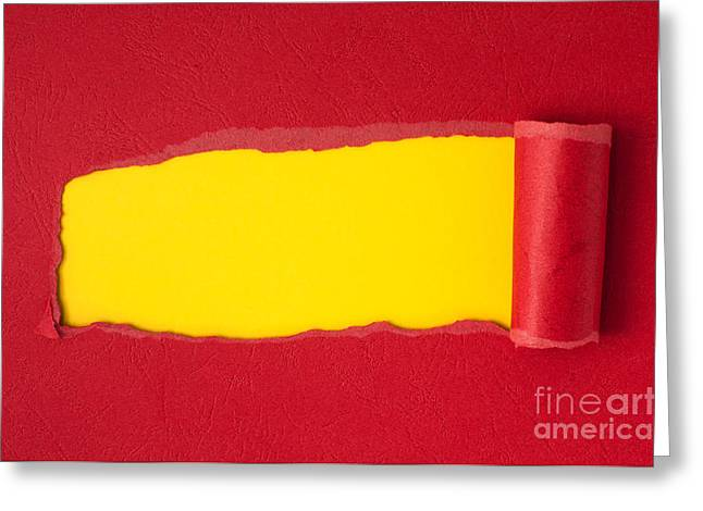 Cardboard Greeting Cards - Red torn paper with yellow space for text  Greeting Card by Deyan Georgiev