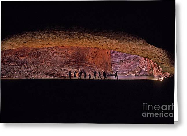 Cavern Greeting Cards - Red Wall Cavern Greeting Card by Ron Sanford