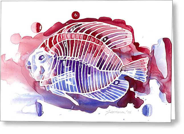 Wet In Wet Watercolor Greeting Cards - Red White and Blue Greeting Card by Mike Lawrence