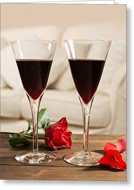 Rose Petals Greeting Cards - Red Wine And Roses Greeting Card by Amanda And Christopher Elwell