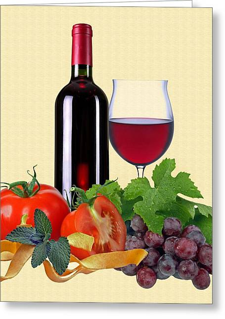 Noodles Greeting Cards - Red wine Greeting Card by Manfred Lutzius