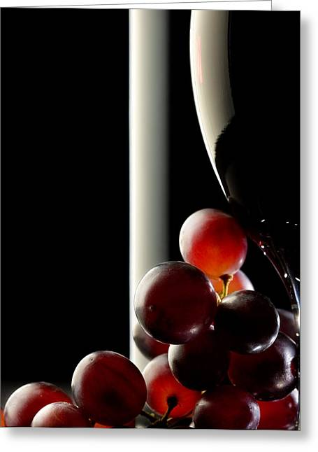 Studio Shots Greeting Cards - Red wine with grapes Greeting Card by Johan Swanepoel