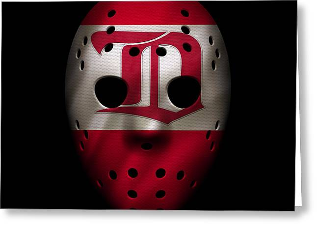 Red Wings Greeting Cards - Red Wings Jersey Mask Greeting Card by Joe Hamilton