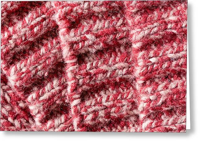 Weaving Greeting Cards - Red wool Greeting Card by Tom Gowanlock