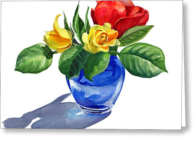 Roses Greeting Cards - Red Yellow and Blue Greeting Card by Irina Sztukowski