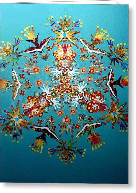 Reef Fish Mixed Media Greeting Cards - Reef Kaleidoscope Greeting Card by Bob Craig