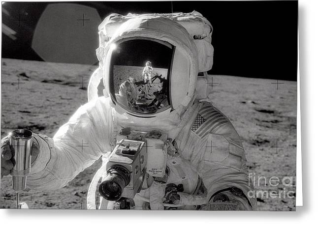 Neil Armstrong Greeting Cards - Reflecting Greeting Card by Jon Neidert