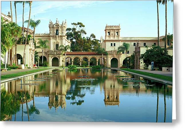 Reflecting Pool In Front Of A Building Greeting Card by Panoramic Images