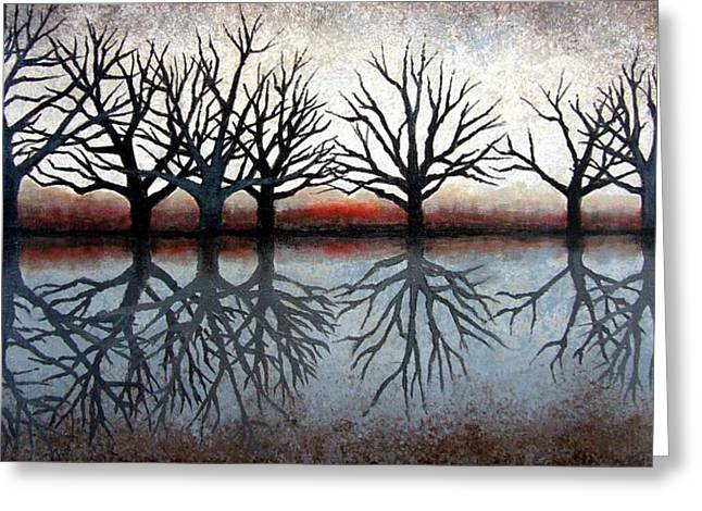 Janet King Paintings Greeting Cards - Reflecting Trees Greeting Card by Janet King