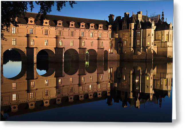 Chateau Greeting Cards - Reflection Of A Castle In A River Greeting Card by Panoramic Images