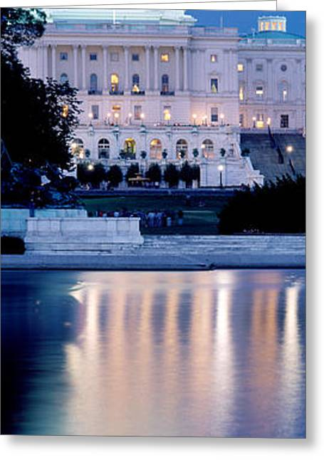 Capitol Greeting Cards - Reflection Of A Government Building Greeting Card by Panoramic Images