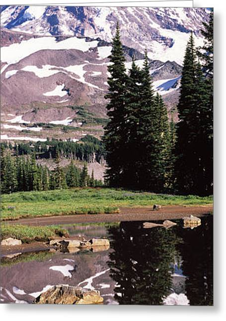 Pierce County Greeting Cards - Reflection Of A Mountain In A Lake, Mt Greeting Card by Panoramic Images