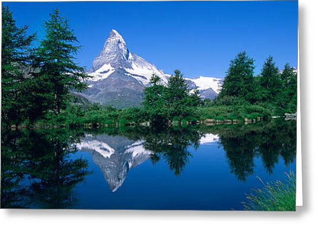 Reflection Of A Snow Covered Mountain Greeting Card by Panoramic Images