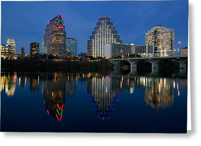 Austin Building Greeting Cards - Reflection Of Buildings In Water, Town Greeting Card by Panoramic Images