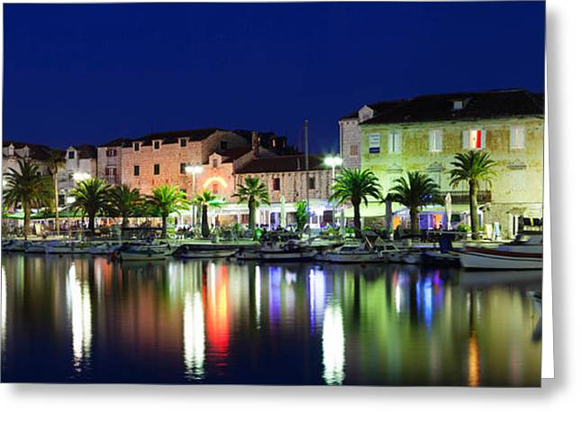 Adriatic Sea Greeting Cards - Reflection Of Buildings On Water Greeting Card by Panoramic Images