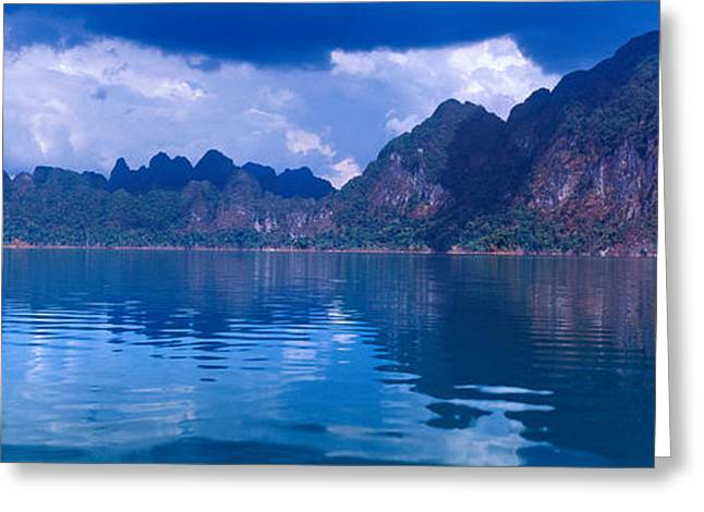 Park Scene Greeting Cards - Reflection Of Mountain On Water, Chiaw Greeting Card by Panoramic Images