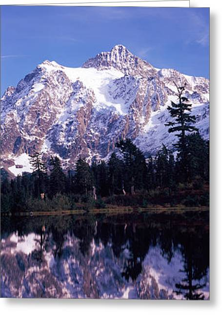 North Cascades Greeting Cards - Reflection Of Mountains In A Lake, Mt Greeting Card by Panoramic Images