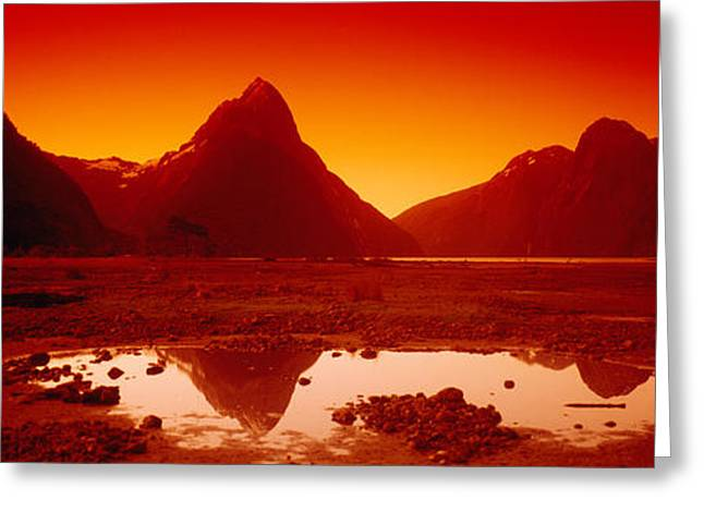 Reflection In Water Greeting Cards - Reflection Of Mountains In A Lake Greeting Card by Panoramic Images