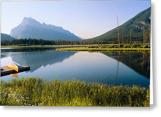Water Vessels Greeting Cards - Reflection Of Mountains In Water Greeting Card by Panoramic Images