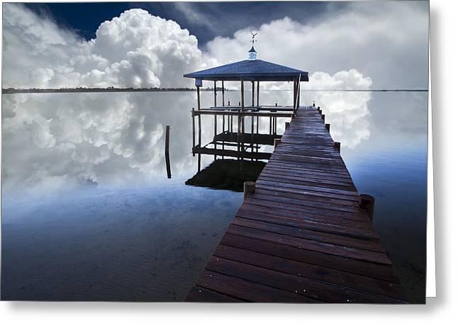 Placid Blue Greeting Cards - Reflections Greeting Card by Debra and Dave Vanderlaan