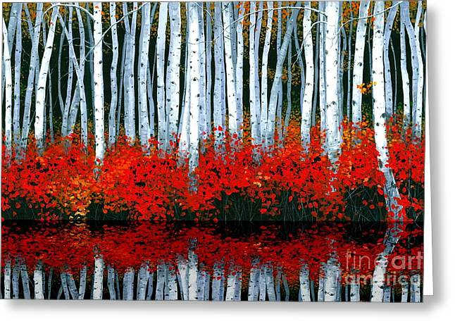 Autumn Landscape Paintings Greeting Cards - Reflections Greeting Card by Michael Swanson