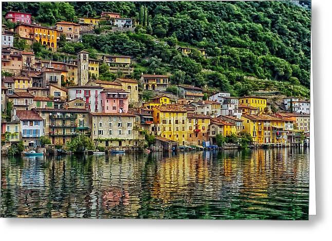 Hdr Landscape Greeting Cards - Reflections of Gandria Switzerland Greeting Card by Mountain Dreams