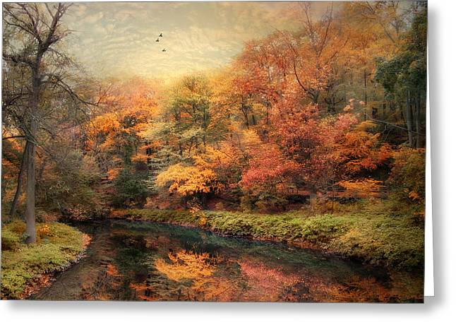 Turning Leaves Digital Art Greeting Cards - Reflections of October Greeting Card by Jessica Jenney