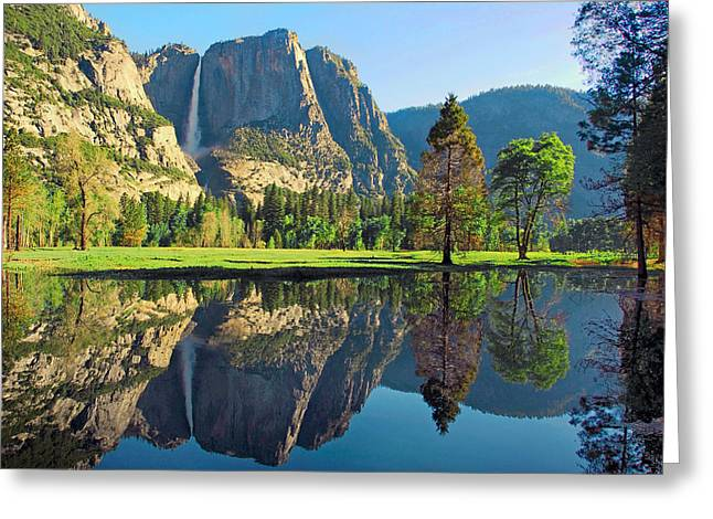 Cathedral Rock Greeting Cards - Reflections of Yosemite Falls Greeting Card by Lynn Bauer
