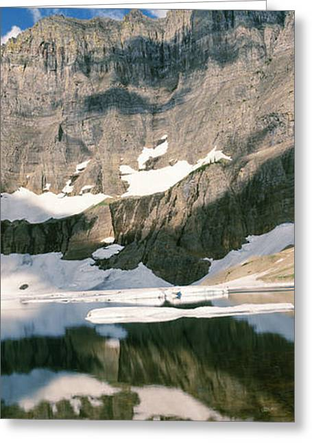 Reflections On Lake At Us Glacier Greeting Card by Panoramic Images