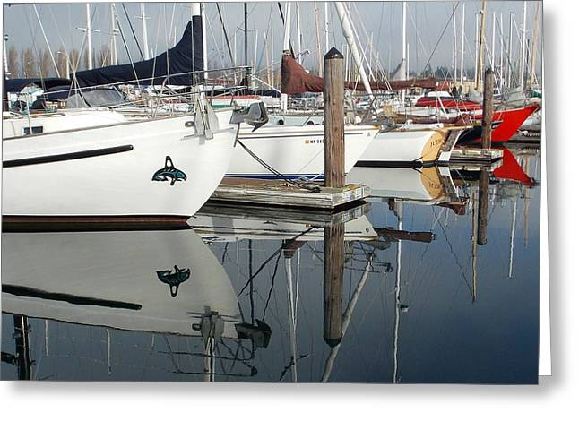 Sailboats Docked Greeting Cards - Reflections Greeting Card by Patti Walden