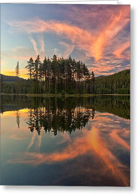 Lanscape Pyrography Greeting Cards - Reflections Greeting Card by Simeon Simeonov
