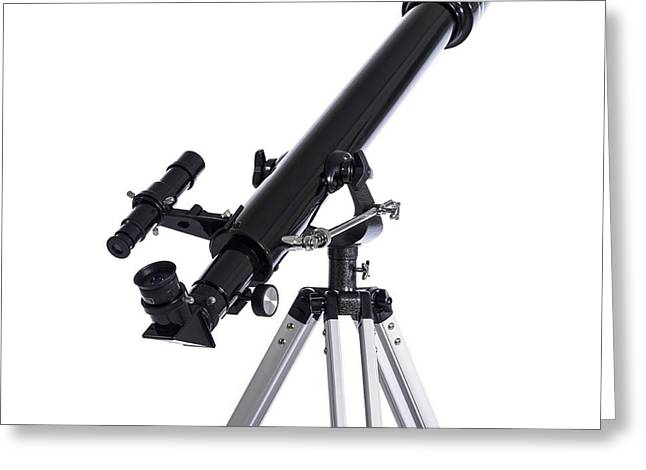 Refracting Telescope Greeting Card by Science Photo Library