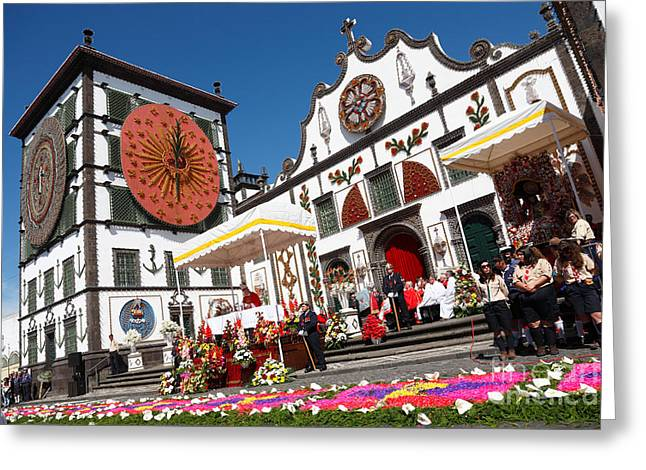 Festivities Greeting Cards - Religious festival in Azores Greeting Card by Gaspar Avila