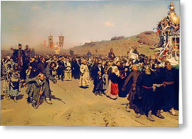 Religious Artwork Paintings Greeting Cards - Religious Procession in Kursk Greeting Card by Ilya Repin