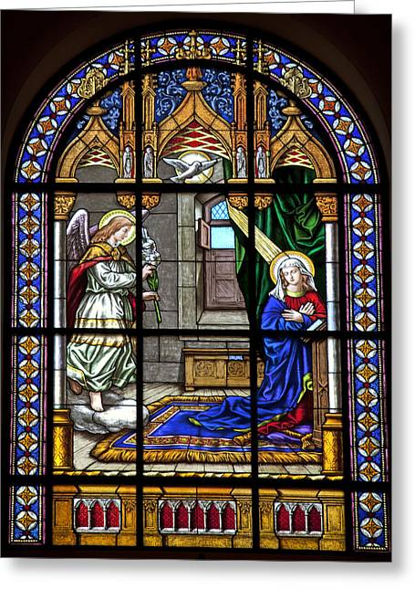 Faith Glass Greeting Cards - Religious Stained Glass Greeting Card by Mountain Dreams