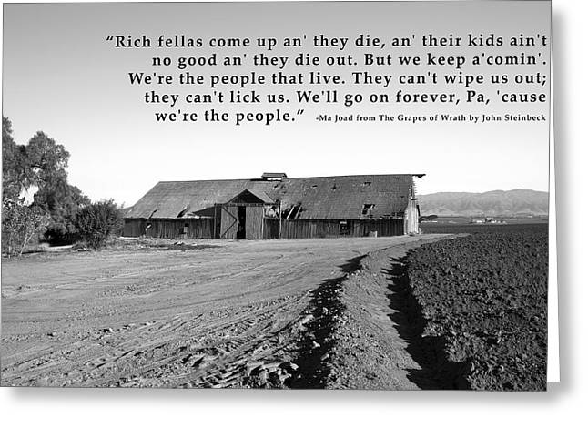Plowing Field Greeting Cards - Remnants Of The Grapes Of Wrath John Steinbeck Quote Greeting Card by Barbara Snyder