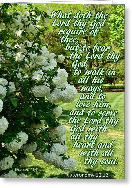 Bible Verse Canvas Art Prints Greeting Cards - Requirements Greeting Card by Larry Bishop