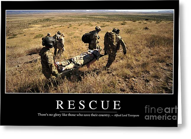 Rescue Inspirational Quote Greeting Card by Stocktrek Images