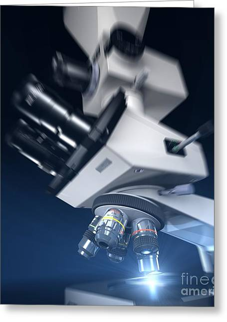 Light Magnifications Greeting Cards - Research Microscope Computer Artwork Greeting Card by David Parker