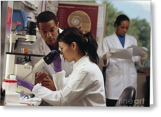 Mid Adult Women Greeting Cards - Researchers In Laboratory Greeting Card by National Institutes of Health