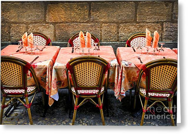 Table Wine Greeting Cards - Restaurant patio in France Greeting Card by Elena Elisseeva