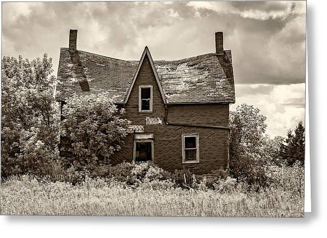 Old Farmhouse Prints Greeting Cards - Retirement sepia Greeting Card by Steve Harrington