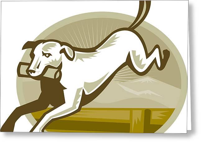 Dog Retrieving Greeting Cards - Retriever Dog Training Jumping Hurdle Retro Greeting Card by Aloysius Patrimonio