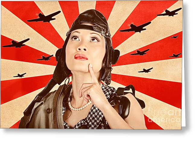 Liberation Greeting Cards - Retro asian pinup girl. War planes of revolution Greeting Card by Ryan Jorgensen